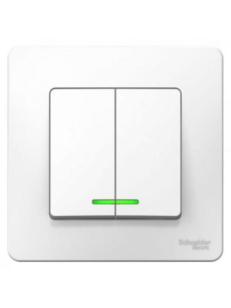 BLANCA бел. С/У Выключатель 2-кл. (cх.5) с подсветкой 6А BLNVS006511 ( уп. 10 ) SE
