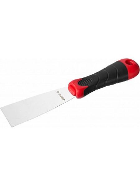 Шпатель, профилированное нержавеющее полотно, 2к ручка, 40мм ЗУБР МАСТЕР 10072-04