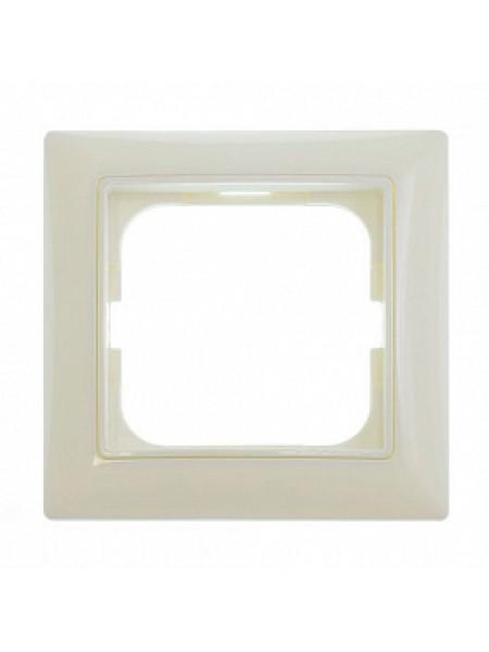 Рамка с декоративной накладкой, 1 пост, слоновая кость Basic55 1725-0-1484 ABB