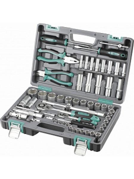Набор инструментов, 1 2, 1 4, CrV, пластиковый кейс 69 предм. STELS 14108