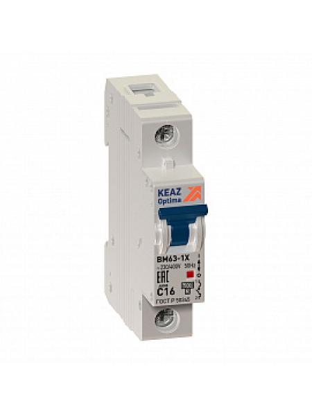Автоматический выключатель модульный КЭАЗ BM63 1п 16А C 6кA (103545)
