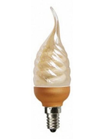 Лампа КЛЛ 9Вт candle 9W DEA/FTG 220V Е27 витая золотистая свеча на ветру 125х39 C7GW09ECG ECOLA