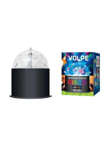 Светильник-проектор светодиодный Разноцветный с сетевым шнуром 220В корпус черный ULI-Q302 DISCO RGB 09840 Volpe