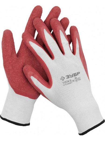 Перчатки трикотажные, с рельефным латексным покрытием, размер L (9) ЗУБР МАСТЕР 11274-L