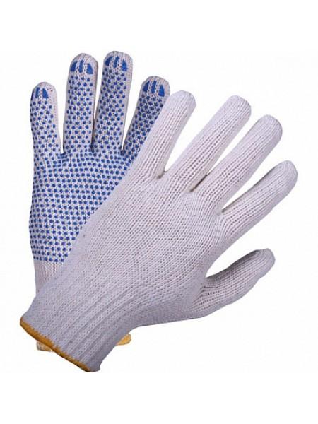 Перчатки хлопчатобумажные 4 нити с ПВХ покрытием белые (упак.10 пар)