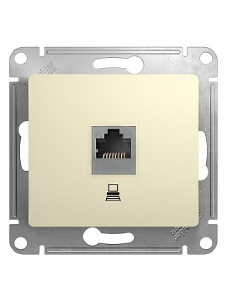 GLOSSA бежевый Компьютерная розетка 1хRJ45 кат. 5е GSL000281K