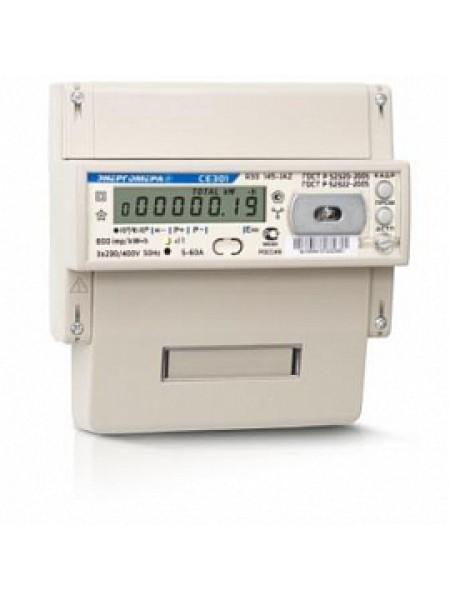 Счетчик электроэнергии трехфазный многотарифный (2 тарифа) CE 301 R33 145 JAZ 5-60А 230/400В оптопорт RS485 DIN Энергомера тариф ЕКБ физ. лица