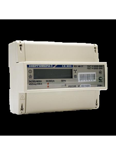 Счетчик электроэнергии трехфазный однотарифный СЕ 300 R31 043 J 5-10А 380В DIN ЖКИ Энергомера