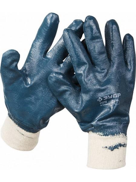 Перчатки рабочие с манжетой, с полным нитриловым покрытием, размер L (9) ЗУБР 11272-L